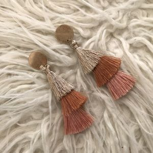 Tri-colored Tassle Earrings with Gold Hardware